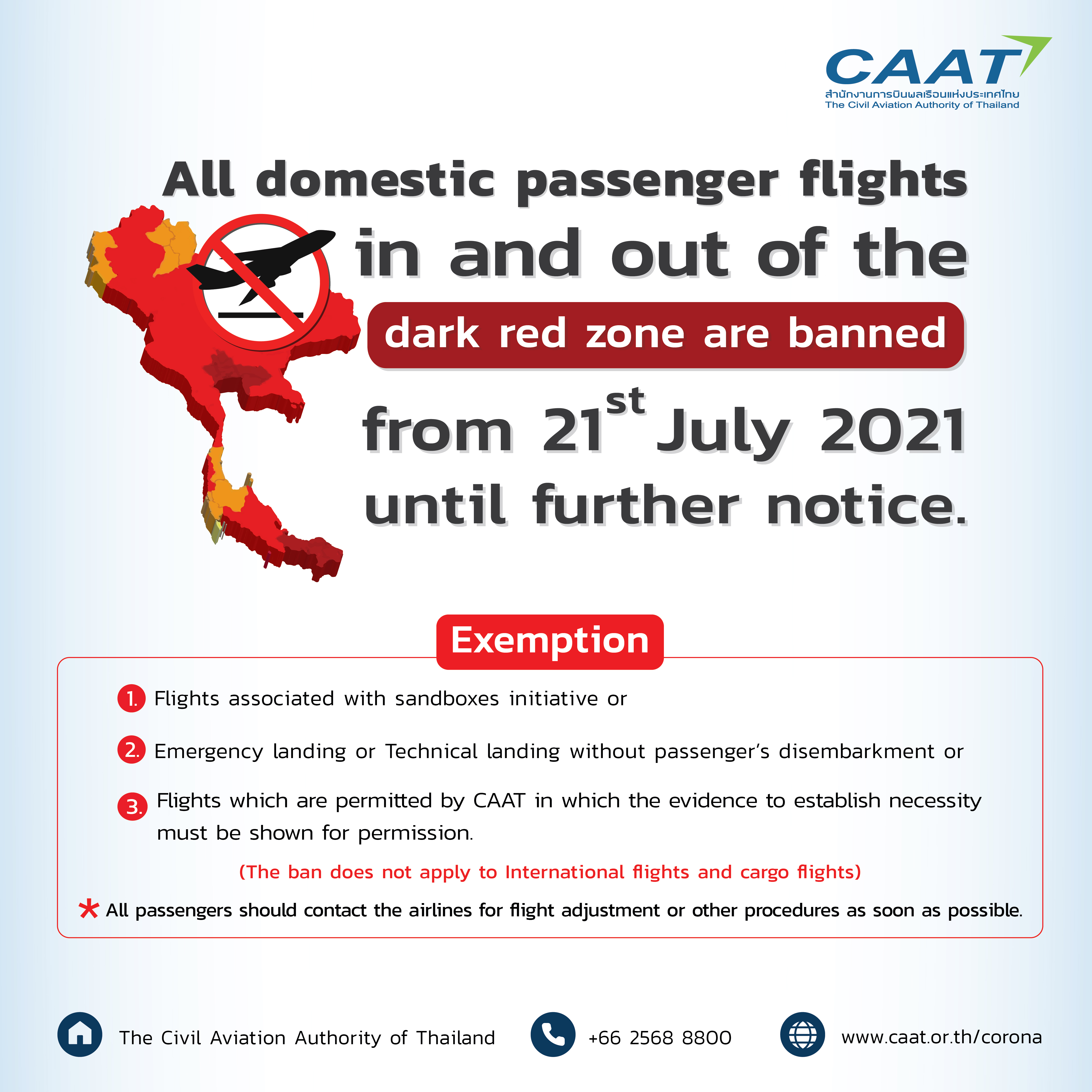 All domestic passenger flights are banned (dark red zone)